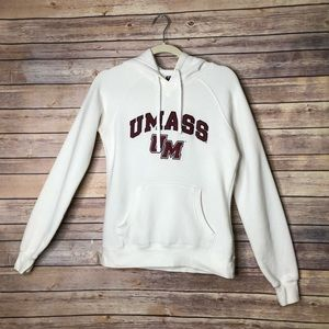 Champion UMASS graphic white hoodie S